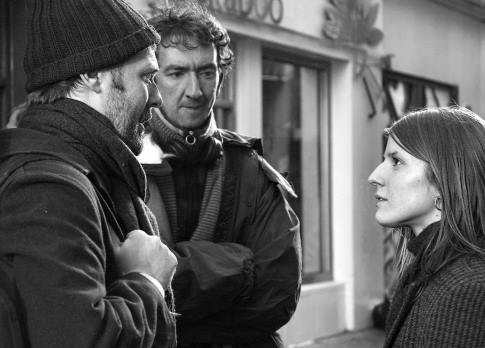 Director John Carney with Hansard and Irglova on the streets of Dublin