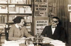 Sylvia Beach and James Joyce at the original Shakespeare and Company bookshop in Paris